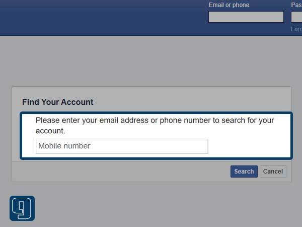 Enter your username, email address, or mobile number associated with your Facebook account