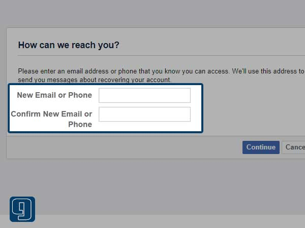 Enter the new email address and type it again to confirm