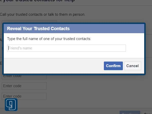 type your friend's name that you've selected as Trusted Contacts