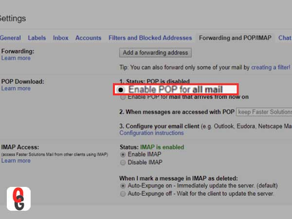 Enable POP for all mail