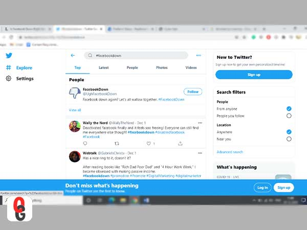 Facebook's Twitter page