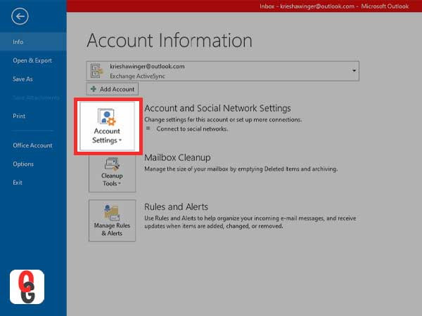 Select the Account Settings